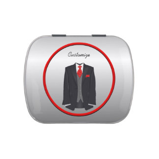 Men's Black Suit and Red Tie Jelly Belly Tin Favor