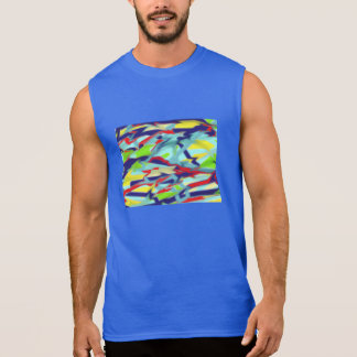 Mens blue sleeveless T-shirt Chaos to Form Design