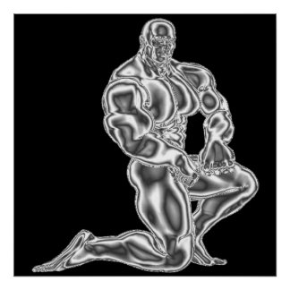 Mens Bodybuilding Pose Poster