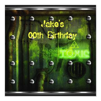 Mens Boys Birthday Party Urban Graffiti Green Invite