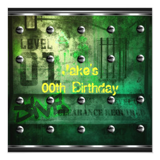Mens Boys Birthday Party Urban Graffiti Green Personalized Announcement