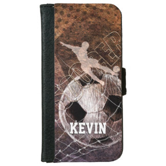 mens boys grungy soccer player kicking goal wallet phone case for iPhone 6/6s