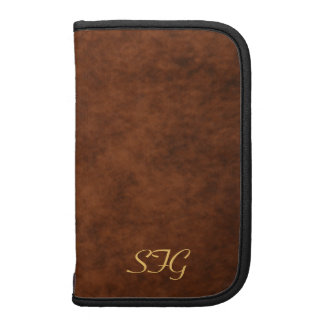 Mens Brown Leather Monogram Daily Planner