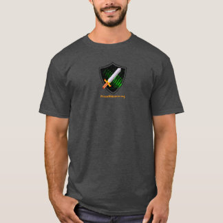 Men's charcoal tshirt with Prion Alliance logo