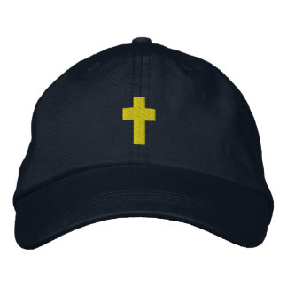 Mens Christian Cross Embroidered Hat