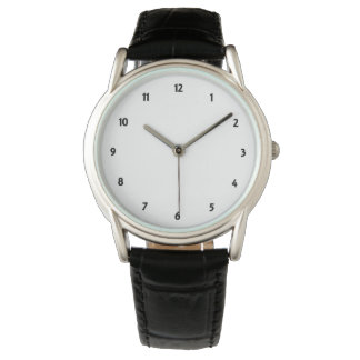Mens Classic Black Leather Strap Watch