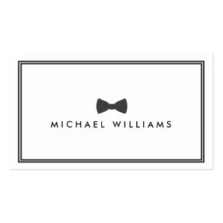 Men's Classic Bow Tie Logo - Black and White Double-Sided Standard Business Cards (Pack Of 100)