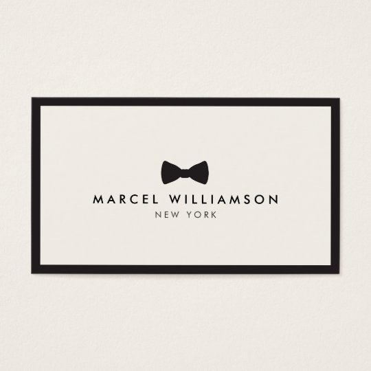 Men S Classic Bow Tie Logo Black Ivory Business Card
