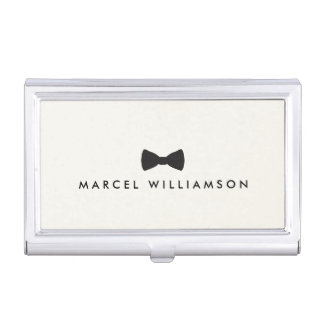 Men's Classic Bow Tie Logo Black/Ivory Case For Business Cards