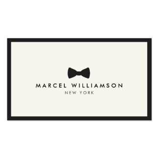 Men's Classic Bow Tie Logo Black/Ivory Double-Sided Standard Business Cards (Pack Of 100)