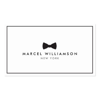 Men's Classic Bow Tie Logo Black/White Double-Sided Standard Business Cards (Pack Of 100)