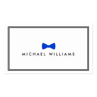 Men's Classic Bow Tie Logo - Blue and White Double-Sided Standard Business Cards (Pack Of 100)