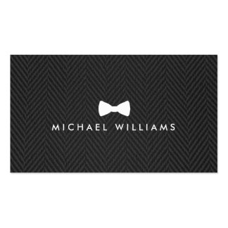 Men's Classic Bow Tie Logo on Black Herringbone Double-Sided Standard Business Cards (Pack Of 100)