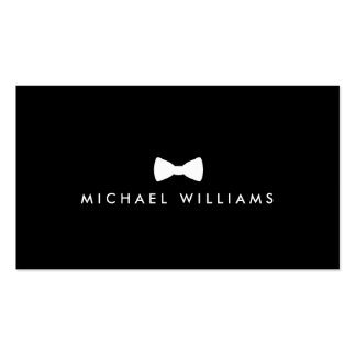 Men's Classic Bow Tie Logo - White and Black Double-Sided Standard Business Cards (Pack Of 100)