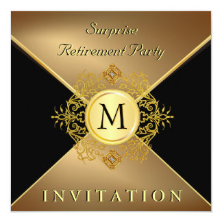 Mens Classy Black Gold Monogram Special Occasion Card