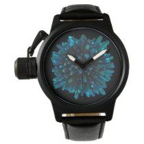 *~* Men's Crystal Sphere Metallic Blue Teal Watch