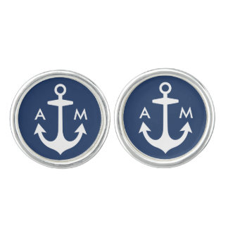 Men's Cufflinks | Anchor Monogram Design