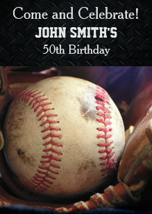Baseball Glove Birthday Invitations