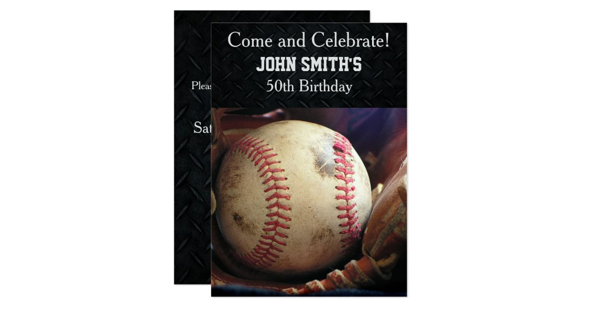 Mens Custom Baseball Birthday Invitations