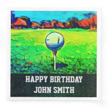 Men's Custom Golfing Birthday Napkins