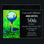 """Men&#39;s Custom Golfing Birthday Sports Father Invitation<br><div class=""""desc"""">These invitations are a one of a kind way to invite your guests to a birthday party celebrating the man that loves the game of golf. All wording can be changed including text size and type.</div>"""