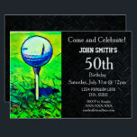 "Men's Custom Golfing Birthday Sports Father Invitation<br><div class=""desc"">These invitations are a one of a kind way to invite your guests to a birthday party celebrating the man that loves the game of golf. All wording can be changed including text size and type.</div>"