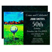 Men's Custom Golfing Birthday Sports Hobby Invitation