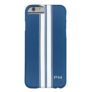 Mens Dark Blue White Racing Stripes Initials Barely There iPhone 6 Case