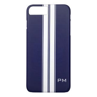 Mens Dark Blue White Racing Stripes Initials iPhone 7 Plus Case