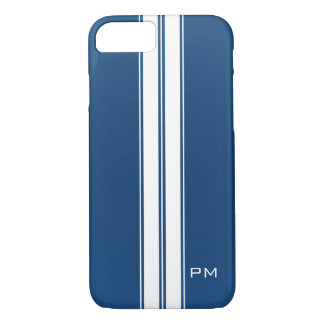 Mens Dark Blue White Racing Stripes Initials iPhone 8/7 Case