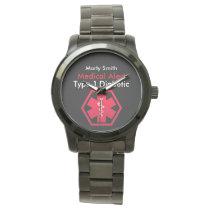 Mens Diabetes Medical Alert Type 1 or 2 Oversized Wrist Watch