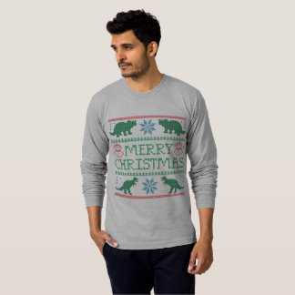 Men's Dinosaur Long-Sleeve Ugly Christmas T-Shirt