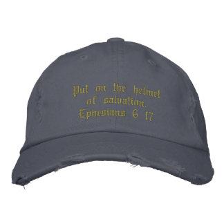 Men's distressed hat blue, inspirational.