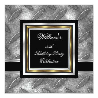 Men's Elegant Black Gold Silver Birthday Metal Card