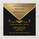 """Men's Elegant Gold Black 60th Brithday Invitations<br><div class=""""desc"""">Mens Black & Gold 60th Adult Birthday Party and Special Occasion Invitations for milestone celebrations.  Elegant gold gemstone image.  Embellishments shown are NOT REAL,  they are images printed on the cards.</div>"""