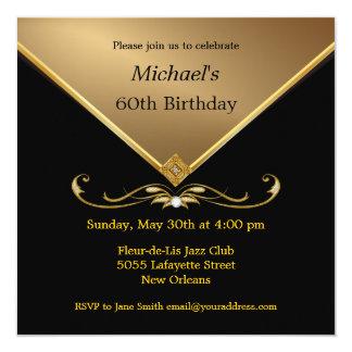 "Men's Elegant Gold Black 60th Brithday Invitations 5.25"" Square Invitation Card"