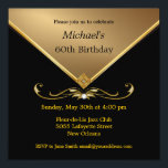 "Men's Elegant Gold Black 60th Brithday Invitations<br><div class=""desc"">Mens Black & Gold 60th Adult Birthday Party and Special Occasion Invitations for milestone celebrations.  Elegant gold gemstone image.  Embellishments shown are NOT REAL,  they are images printed on the cards.</div>"