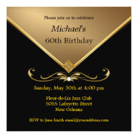 Mens Elegant Gold Black 60th Brithday Invitations Birthday