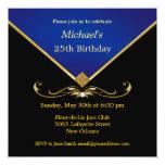 "Men's Elegant Gold Blue Birthday Party Invitations 5.25"" Square Invitation Card"