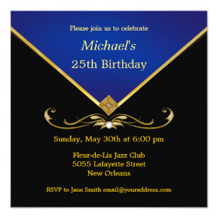 Mens Elegant Gold Blue Birthday Party Invitations