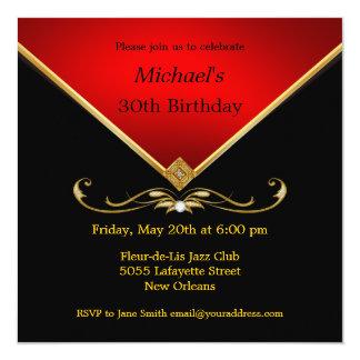 Men's Elegant Gold Red Birthday Party Invitations