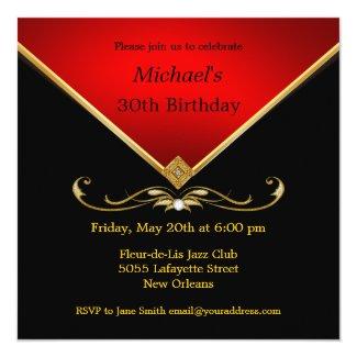 Adult party invitations womens birthday invites elegant invites mens elegant gold red birthday party invitations filmwisefo