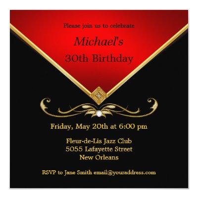 Red Gold 80th Birthday Party Invitation Zazzle Com