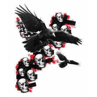 Mens Emo guys Goth music Crows in flight Skull shirt