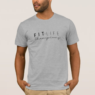 Mens Fit Life Champions Top in Black Ink