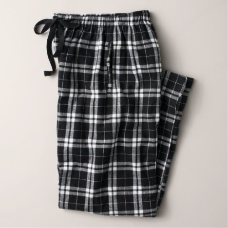 Men's Flannel Pajama Pants in Black and White