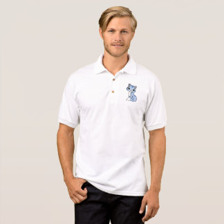 Men's Gildan Jersey Polo Shirt Cat Blue White