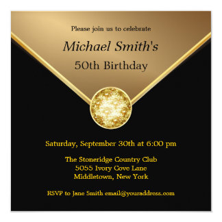 "Mens Gold Black Elegant Jewel Birthday Invitations 5.25"" Square Invitation Card"
