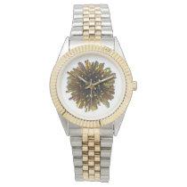 *~* Men's Gold Color Crystal Sphere Metallic Watch