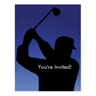 Men's Golf Blue Invitation Postcard